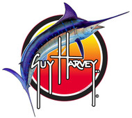 "Guy Harvey 5"" Sunset Blue Marlin Sticker in Red"