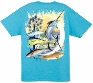 Guy Harvey Palmetto Moon Men's Back-Print Tee in Aqua Blue