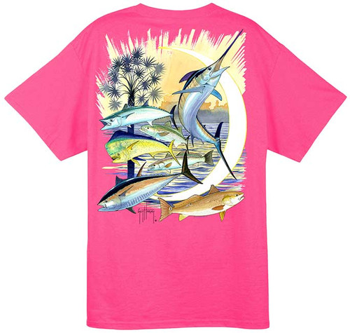 Guy Harvey Palmetto Moon Men's Back-Print Tee in Hot Pink