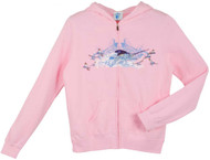 Guy Harvey White Fire Ladies Zip-Front Hoodie in Pink