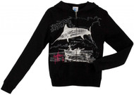 Guy Harvey Marlin Go Over Ladies Zip-Front Hoodie in Black