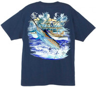 Guy Harvey Marlin Boat 2 Men's Back-Print Tee w/ Pocket in Cardinal, Navy, Stonewashed Green or White