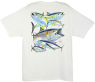 Guy Harvey Tuna Collage Men's Back-Print Tee w/ Pocket in Ocean Blue or White