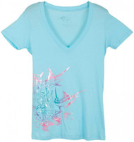 Guy Harvey Hibiscus Marlin Front-Print Junior Ladies Tee with V-Neck in Cancun or White