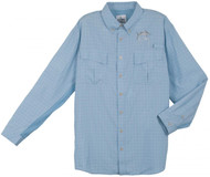 Guy Harvey Marlin Plaid Long Sleeve Technical Fishing Shirt in Blue, Charcoal, Gray or Tan