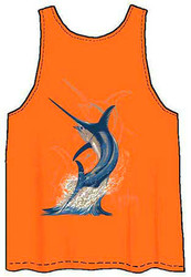 Guy Harvey Swordfish Strike Back-Print Men's Tank Top in Orange