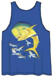 Guy Harvey Bull Dolphin Back-Print Men's Tank Top in Royal Blue