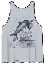 Guy Harvey Tarpon Etch Back-Print Men's Tank Top in Heather Gray