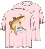 "Guy Harvey ""Pinks"" Men's Back-Print Tee w/ Front Signature in Redfish Seatrout"