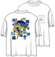 Guy Harvey Mahi Mahi Men's Back-Print Tee w/ Pocket in White or Yellow