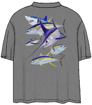 Guy Harvey Vintage Swordfish and Friends Back-Print Men's Tee w/ Pocket in Vintage Gray or Vintage Moss