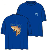 Guy Harvey Neon GH Red Back-Print Pocketless Men's Tee w/ Front Signature in Neon Blue