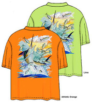 Guy Harvey Island Marlin Men's Back-Print Pocketless Tee w/ Front Signature in Lime Green or Athletic Orange
