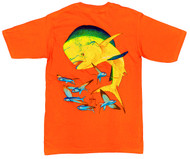 Guy Harvey Bull Dolphin Men's Back-Print Pocketless Tee w/ Front Signature in Athletic Orange