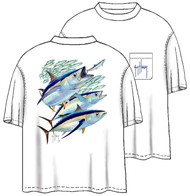 Guy Harvey Albacore Men's Back-Print Tee w/ Pocket in White or Marine Green