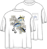 Guy Harvey Oceana Tuna Men's Back-Print Tee w/ Pocket in White