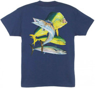 Guy Harvey Bull Dolphin, Wahoo, Kingfish Men's Back-Print Tee w/ Pocket in Aqua, Navy Blue, Orange, Graphite, Red or White