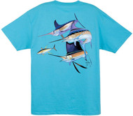 Guy Harvey Trouble Men's Back-Print Tee w/ Pocket in Black, Red, White or Aqua Blue