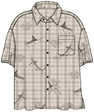 Guy Harvey Marlin N Bait Woven, Aloha-Style Shirt in Khaki