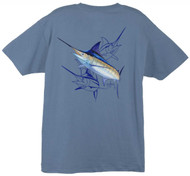 Guy Harvey Marlin Dash  Men's Back-Print Tee w/ Pocket in Denim Blue, Yellow or White
