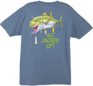 Tom Waters All Jacked Up Back-Print Tee w/ Pocket in Denim Blue