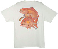 Guy Harvey Red Snapper Men's Back-Print Tee w/ Pocket in Stonewashed Green, Denim Blue or White