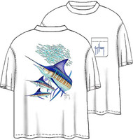 Guy Harvey Striped Marlin Men's Back-Print Tee w/ Pocket in White or Denim Blue