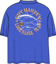 Guy Harvey Long Range Team Tuna Men's Back Print Pocket-Free Tee In Kelly Green Heather or Royal Blue Heather