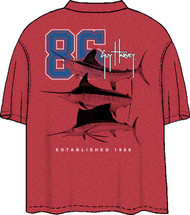 Guy Harvey Team Slam Men's Back Print Pocket-Free Tee In Charcoal Heather or Red Heather