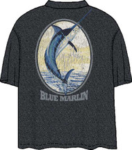 Guy Harvey Retro Marlin Label Retro Men's Back Print Pocket-Free Tee In Charcoal Heather or Royal Blue Heather