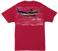 Guy Harvey Bill of Rights Men's Back-Print Tee w/ Pocket in Red