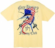 Guy Harvey Fishing Club Men's Back-Print Tee w/ Pocket in Navy, Ocean Blue or Yellow