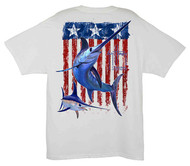 Guy Harvey Swordfish Flag Men's Back-Print Tee w/ Pocket in White, Navy or Cardinal