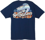 Guy Harvey Independence Men's Back-Print Tee w/ Pocket in White, Yellow or Navy