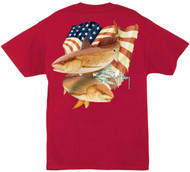 Guy Harvey Stars and Stripes Men's Back-Print Tee w/ Pocket in White or Red