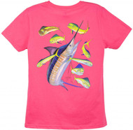 Guy Harvey Marlin Dorado Back-Print Ladies Tee with Front Signature in Caribbean Blue, Raspberry or White