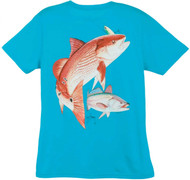 Guy Harvey Redfish Seatrout Back-Print Ladies Tee with Front Signature in Caribbean Blue, Raspberry, Iris or White