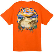Guy Harvey University of Florida Swamp 'Gator Back-Print Pocketless Men's Tee in White, Royal Blue, Athletic Heather or Orange