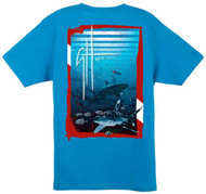 Guy Harvey Shark Dive Contemporary Back-Print Tee in Black or Turquoise
