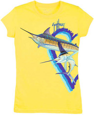 Guy Harvey Split Marlin Little Girls Tee Shirt in Yellow or Turquoise