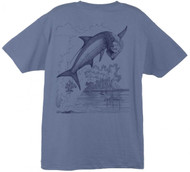 Guy Harvey Tarpon Etching Men's Back-Print Tee w/ Pocket in Denim Blue