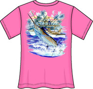 Guy Harvey Marlin Boat 2 Back-Print Ladies V-Neck Tee with Front Signature in Aqua Blue, Lavender, Raspberry or Melon