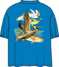 Guy Harvey Gulf LIfe 2 Men's Back-Print Pocketless Tee w/ Front Signature in Gold or Turquoise