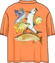 Guy Harvey Inshore Collage Men's Back-Print Pocketless Tee w/ Front Signature in Tangerine Orange or Turquoise