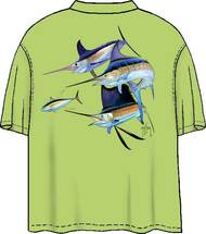Guy Harvey Trouble Men's Back-Print Pocketless Tee w/ Front Signature in Kiwi or Gold