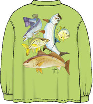 Guy Harvey Inshore Collage Men's Back-Print Long Sleeve Tee Without Pocket in Kiwi