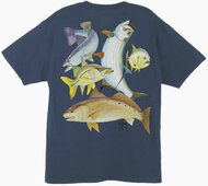 Guy Harvey  Inshore Collage Men's Back-Print Tee w/ Pocket in Denim Blue, Kelly Green, White, Yellow or Navy Blue