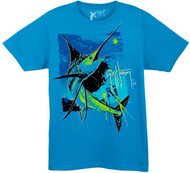 Guy Harvey Paint by Color Young Man's Tee in Turquoise or White