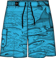 Guy Harvey Massive Etching Mens Fakie Board Short in Turquoise, White or Black