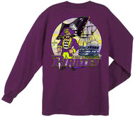 Guy Harvey East Carolina Pirates Back-Print Pocketless Long Sleeve Men's Tee in Purple